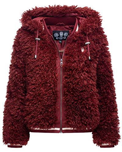Marikoo Damen Jacke Teddyfell Kunstfelljacke Winter Kuscheljacke Kunstfell B823 [B823-Puder-Bordeaux-Gr.L]