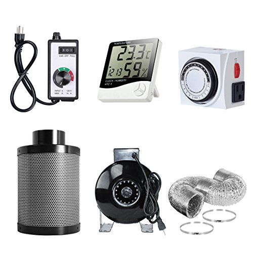 PrimeGarden 4'' Inline Fan Carbon Filter Ducting Combo + Variable Fan Speed Controller + Hygrometer Thermometer + 24 Hour Timer Outlet for Hydroponic Grow Tent Ventilation System (4'' Ventilation Kit)
