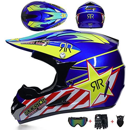 Adulto Rockstar Casco Motocross Mujer Azul Las Gafas Desmontables Guantes Máscar, Casco...