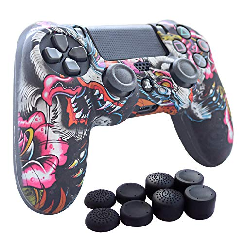 PS4 Controller Grip,Hikfly Skin Silicone Gel Controller Cover Case Protector Compatible for PS4/PS4 Slim/PS4 Pro Controller (1x Controller Cover with 8 x FPS Pro Thumb Grip Caps)(Grey Paw)