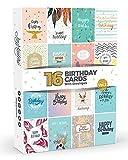 Coffret de 16 Cartes d'Anniversaire avec Enveloppes Blanches par Joy Masters™ - Cartes de vœux au design coloré et moderne - Intérieur blanc - Pour homme et femme - Grand format 12,5 x 17 cm
