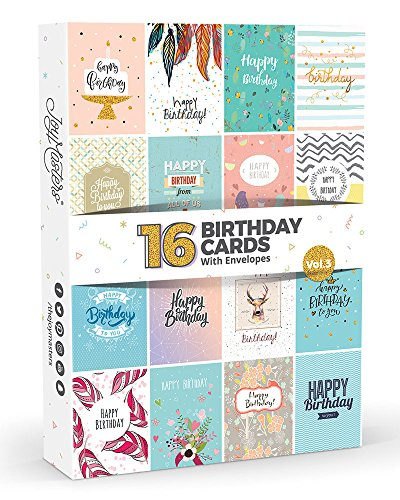 Joy Masters™ Biglietti di Auguri di Buon Compleanno Assortiti con Busta – Confezione da 16 Pezzi - Vol. 3