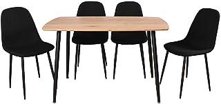 AltoBuy Leana - Ensemble Table + 4 Chaises Tissu Noir