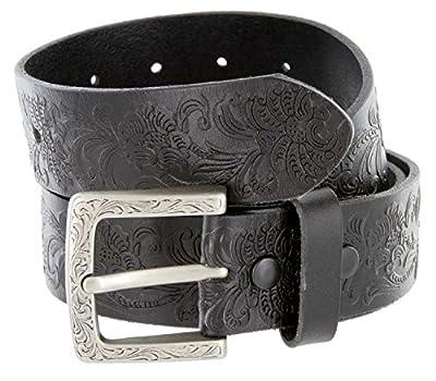 """Belts.com BS036-P3983 Western Floral Engraved Tooling Full Grain Leather Belt 1.5"""" Black 34"""