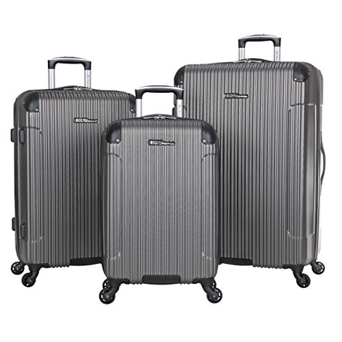 Ben Sherman Charlton Bay Collection Lightweight Hardside 4-Wheel Spinner Travel Luggage, Silver, 3-Piece Set (20', 24', 28')