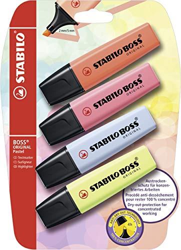 Marcador STABILO BOSS ORIGINAL pastel - Pack con 4 colores
