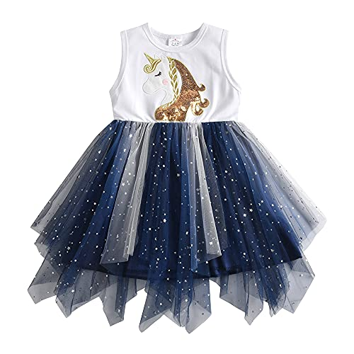 DXTON Vestidos para Niñas Vestido de Unicornioio Vestido de Princesa Ropa de Fiesta para Niños BlancoSh4860 3T