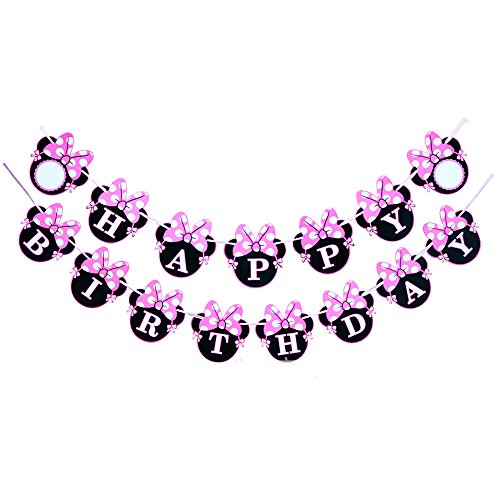 CHuangQi Minnie Themed Party Banner, Happy Birthday Banner, Birthday Party Supplies & Decoration