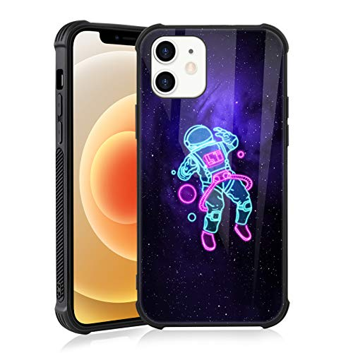 TEAUGHT iPhone 12 Case, iPhone 12 Pro Case (2020) 6.1 Inch Astronaut Space Black Non-Slip Edge Slim Light Durable Shockproof Drop Protection Flexible Bumper Hybrid Cover for Boys Man (Neon)