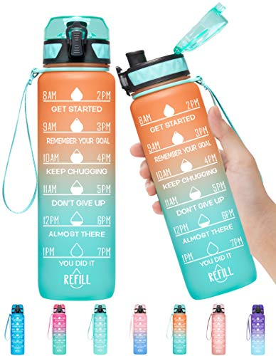 Elvira 32oz Motivational Fitness Sports Water Bottle with Time Marker & Removable Strainer,Fast...
