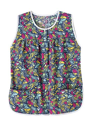 AmeriMark Patterned Women's Snap Front Cobbler Apron Vest with Two Patch Pockets Butterflies 1X
