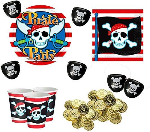 Partyset Pirat für 8 Kinder, Teller, Becher, Servietten + Münzen, Augenklappen, Tattoos, Bandanas