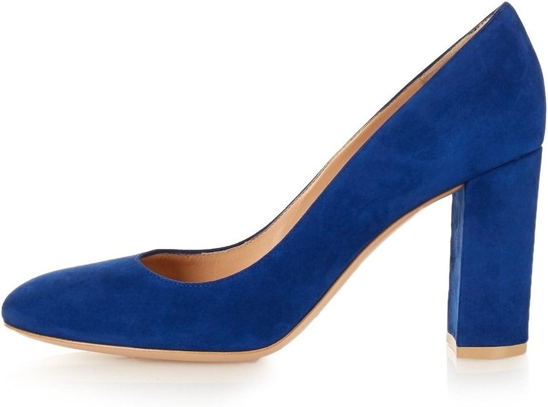 Eldof Women's High Heel Round Toe Pumps Thick Heel 10cm Classic Office Classic Pumps