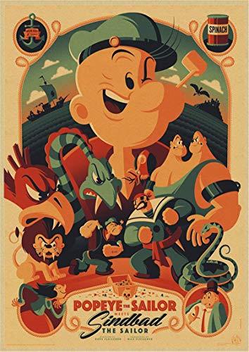 XuJinzisa Popeye Und Betty Puppe Klassischer Film Kraftpapier Retro Poster Home Bar Dekoration Rahmenlos 50X60Cm K1577