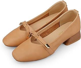 [OceanMap] 甲浅 美脚 パンプス 痛くない ぺたんこ スクエアトゥ チャンキーヒール 靴 レディース 春秋 通勤 オフィス ローヒール かわいい リボン パンプス 走れる 立ち仕事 結婚式 レディース靴 ベージュ