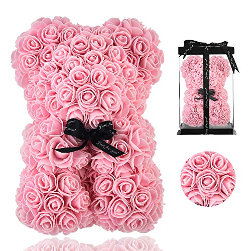 Rose Bear - Rose Teddy Bear on Every Rose Bear -Flower Bear Perfect for Anniversary's - Clear Gift Box Included! 10 Inche (Light Pink)