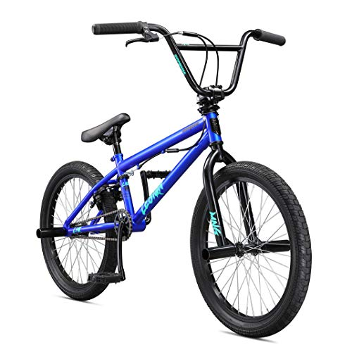 Mongoose Legion L10 Freestyle BMX Bike for Beginner Riders, Featuring Hi-Ten Steel Frame and Micro Drive 25x9T BMX Gearing with 20-Inch Wheels, Blue