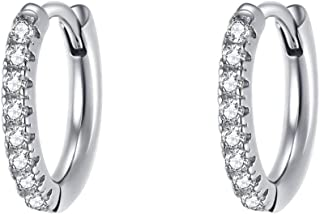 White/Yellow Gold Plated Sterling Silver Round Cut Clear CZ Cubic Zirconia Small Second Hole Hinged Cartilage Hoop Earrings Dainty Huggie Tiny Loops For Women Girls, 13mm / 18mm