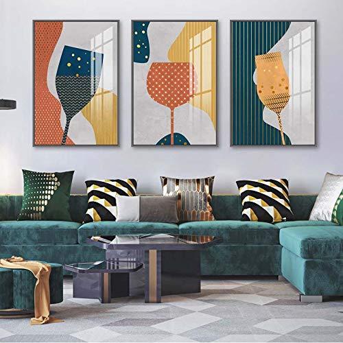 Cáliz de Vidrio Abstracto geométrico, Pintura en Lienzo, Copa de Vino Colorida, Arte de Pared, póster, Cocina Moderna, Restaurante, decoración (40x60 cm) x3 sin Marco