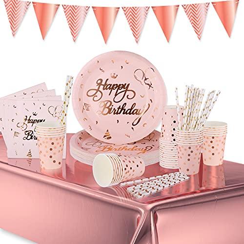 VAINECHAY Festa Compleanno Piatti Stoviglie Set Feste Decorazioni Tovaglia Tovaglioli Carta Bicchieri Cannucce per Compleanno Festa Adulti Bambini 25 Ospiti Rosa