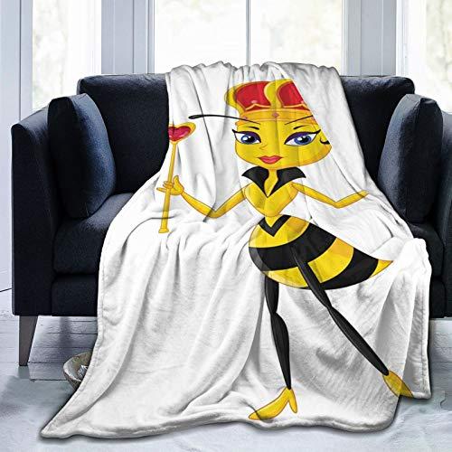 Manta mullida, diseño de abeja con corona y varita con diseño de corazón, imagen de insectos, ultra suave, manta para dormitorio, cama, TV, manta de cama de 80 x 60 pulgadas