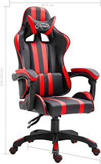 Festnight Silla Gaming de Escritorio Negro y Rojo PU 61,5 x 68 x (115-122) cm con Respaldo Ajustable Sillas Sillón Escritorio de Oficina Silla de Ordenador, Giratorio de 360 Grados