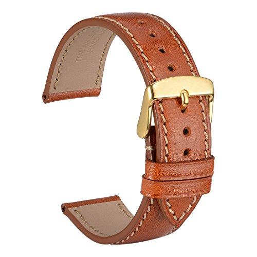 WOCCI 22mm Correa Reloj de Cuero de Italiana, Hebilla de Acero Inoxidable de Oro (Marrón)