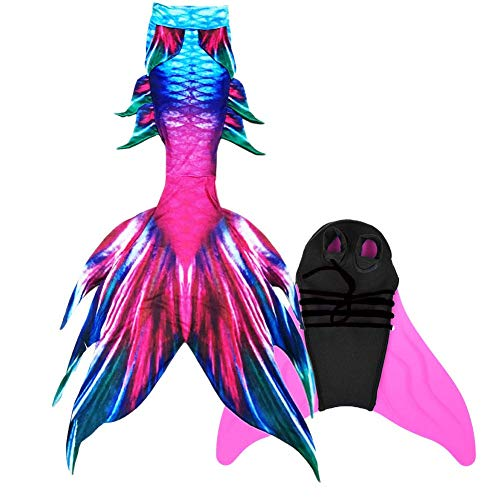 Aiecis Guter Handwerker Mädchen Meerjungfrauenschwanz zum Schwimmen Mermaid Tail für Kinder und Erwachsene INBEGRIFFEN Monoflosse