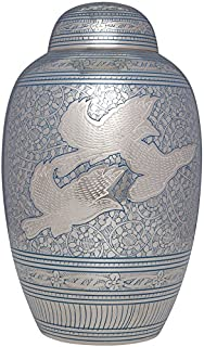 Liliane Memorials Blue Funeral Cremation Urn with Dove Birds in Flight Volando Model in Brass for Human Ashes Suitable for Cemetery Burial Fits Remains of Adults up to 200 lbs, Large/200 lb