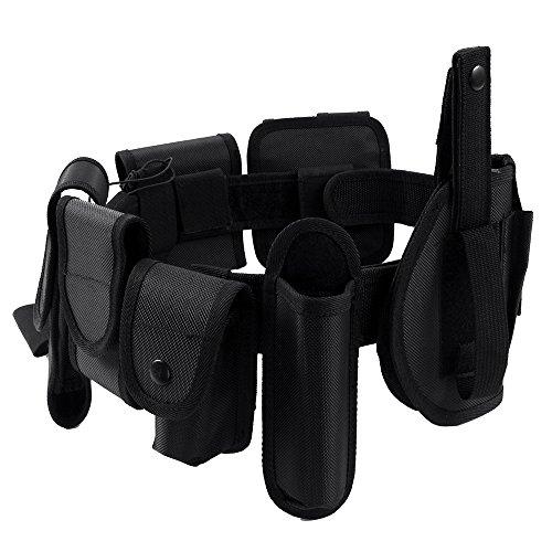 LUUFAN Ceinture Tactique de sécurité Ceinture de Combat en Nylon résistante réglable Ceinture Utilitaire Police Matériel Militaire (Noir)