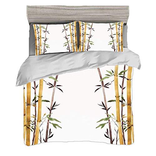 Juego de funda nórdica tamaño king (230 x 220 cm) con 2 fundas de almohada Decoración de bambú Juegos de cama de microfibra Bamboo Grove Calma tu mente Slow Down Zen Relax Estilo dibujado a mano Obra