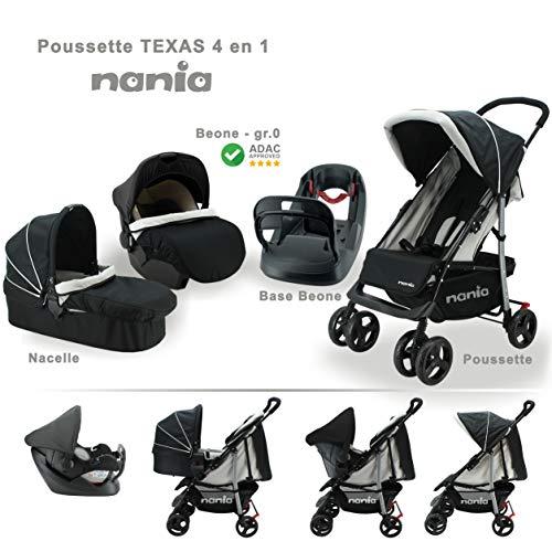 Poussette combinée TEXAS + siège auto Beone(gris clair) grp 0+ (0-13Kg) + nacelle + base beone...