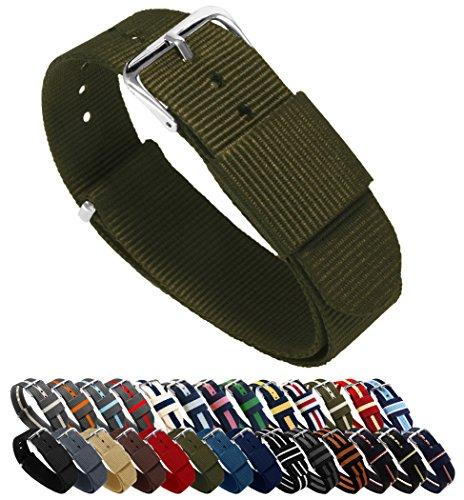 BARTON Watch Bands Uhrenarmband, Farb- und Längenauswahl (18 mm, 20 mm, 22 mm oder 24 mm), Bänder aus ballistischem Nylon, unisex, NAR22, armee-grün, 22mm - Standard (10