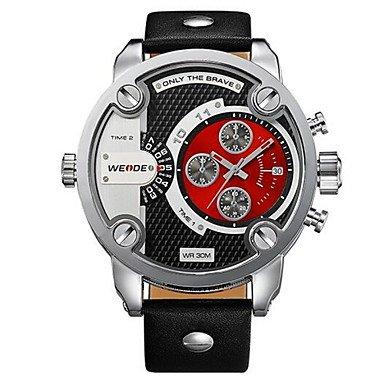 XKC-watches Herrenuhren, Weide Männer Sport Tauch Militär Design Armbanduhr Lederarmband Uhr (Farbe : Rot, Großauswahl : Einheitsgröße)