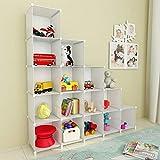 SIMPDIY 本棚 大容量 整理棚 ワイヤー収納ラック 組み立て式 衣類収納ボックス 便利な ワードローブ - 白(16ボックス)