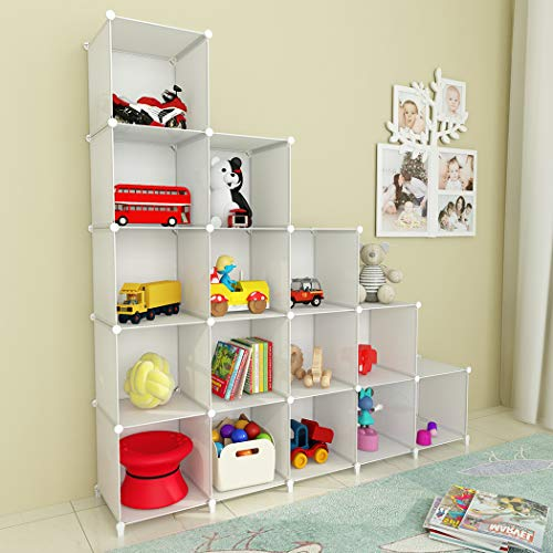 SIMPDIY Portable Storage Organizer Plastic Cubes Sturdy Bookshelf 16 Cubes White Multi-Function Space-Saving Shelves Plastic Sheves Rack