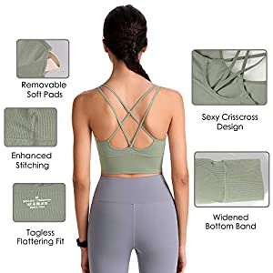 Evercute Cross Back Sport Bras Padded Strappy Criss Cross Cropped Bras for Yoga Workout Fitness Low Impact