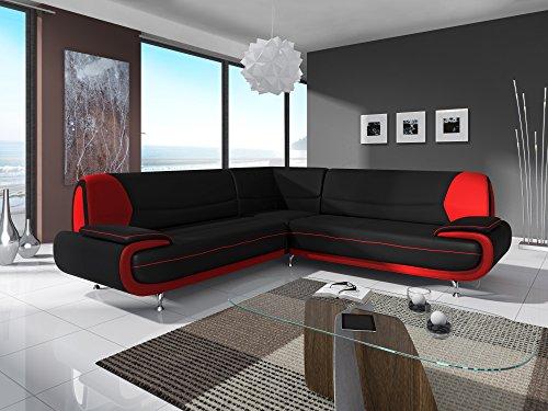 Mobilier Deco CANAPÉ d'angle Design Noir ET Rouge MUZA