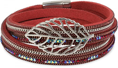styleBREAKER Wickelarmband mit Strass und Ketten, Blatt Anhänger, Magnetverschluss, Armband, Damen 05040069, Farbe:Bordeaux-Rot