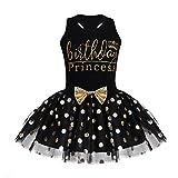 inlzdz Vestido de Bautizo Bebé Niñas Traje de Cumpleaños Princesa Infántil Conjunto Verano Camiseta sin Manga Falda Tutú de Lunares Vestido de Fiesta Ceremonia Fotografía (7-8 años, Negro)