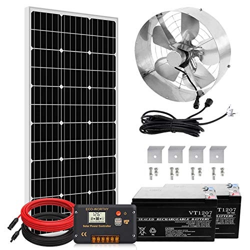 Pumplus Solar Powered Fan with Battery Backup, 12 inch Solar Attic Fan+100-Watt Solar Panel+14Ah 12V Rechargeable Battery Pack+20A Charge Controller + Cable, Cool Your Attic and Protect Your Home