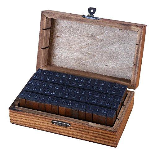 Yaheetech 70 stuks alfabet letters briefzegels aantal vintage hout rubber stempels cijfers en tekens set voor doe-het-zelvers, kunst, handwerk, kaarten maken