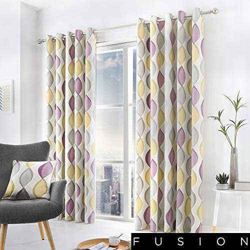 Fusion - Lennox - 100% Cotton Ready Made Lined Eyelet Curtains - 90' Width x 90' Drop (229 x 229cm) in Heather