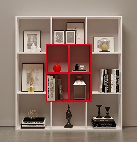 HOMIDEA Mars Libreria - Scaffale per Libri - Scaffale per Ufficio/Soggiorno dal Design Moderno (Bianco/Rosso)