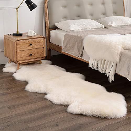 Bedee - Alfombra de piel de oveja sintética, 80 x 180 cm, piel de oveja sintética, universal, para salón, dormitorio, habitación infantil, comedor, coche, color blanco