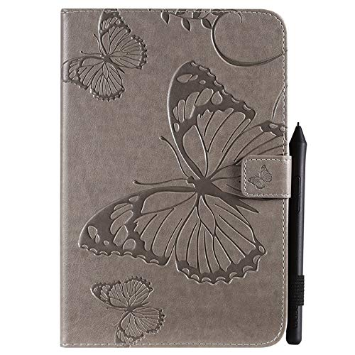 GROSSARTIG For IPad Mini 5th Generation 2019 / Mini 4th Gen 2015 Business Horizontal Flip Waterproof Embossing Butterfly Pattern Premium Leather Protective Case Leather Hard Back Protective Stand Cove