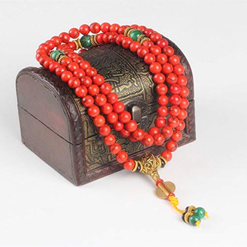 NASHUBIA 108 Rode Koraal armband natuursteen kralen mala ketting boeddhistische gebed rozenkrans armbanden buddha meditatie