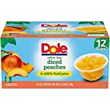 Dole Fruit Bowls, Yellow Cling Diced Peaches in 100% Fruit Juice, 4 Ounce, 12 Count