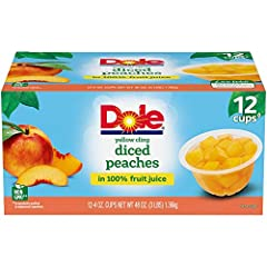ALL NATURAL FRUIT: DOLE Yellow Cling Diced Peaches in 100% Fruit Juice doesn't use syrup or artificial sweeteners. It just has the sweetness of all natural fruit, plain and simple. DOLE FRUIT BOWLS are made with the best fruit nature has to offer. NA...