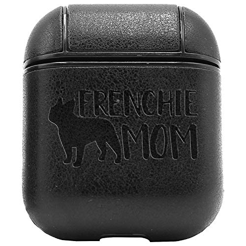 Frenchie Mom French Bulldog (Vintage Black) Engraved Air Pods Protective Leather Case Cover - A New Class of Luxury to Your Airpods - Premium Pu Leather and Handmade Exquisitely by Master Craftsmen